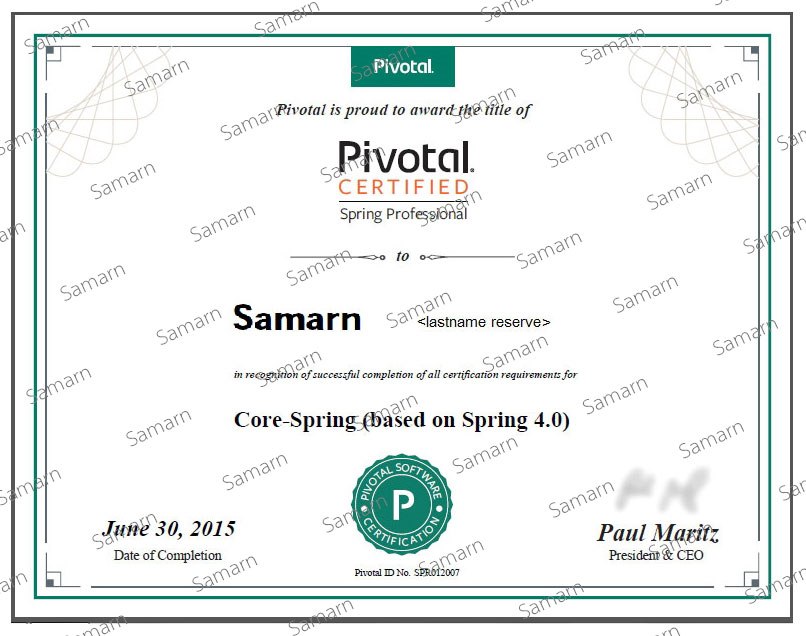 Pivotal Certified Spring Professional